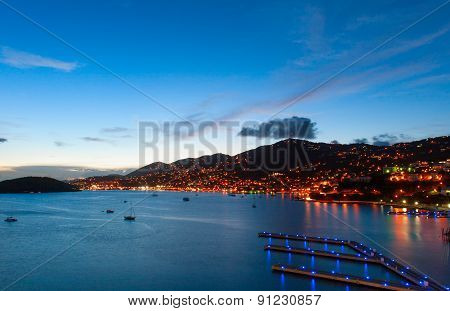 Late evening with many lights in Caribbean port of Saint Thomas,