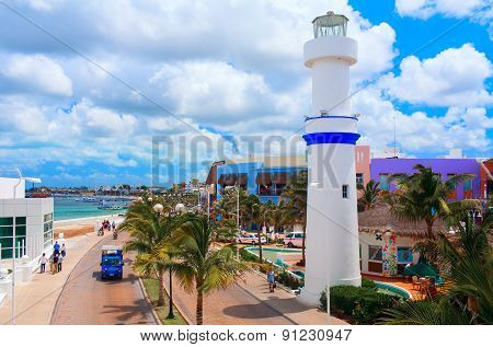 COZUMEL, MEXICO - A Beautiful quay with white lighthouse