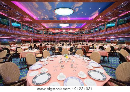 Cruise ship main dining room