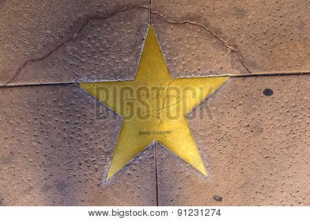 Star Of Gary Cooper  On Sidewalk In Phoenix, Arizona.