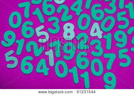 Cyan Numbers On Magenta