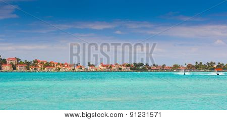 Beautiful caribbean beach with clear blue water. Saint Martin island.
