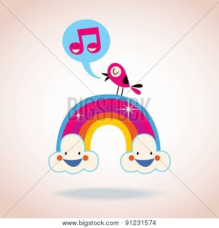 rainbow clouds and singing bird