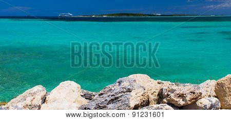 Beautiful caribbean beach with clear blue water