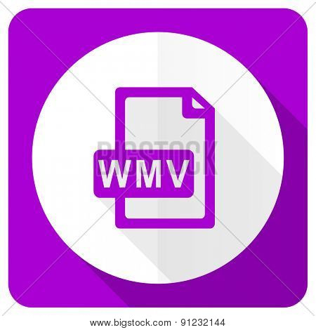 wmv file pink flat icon