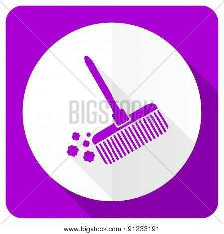 broom pink flat icon clean sign