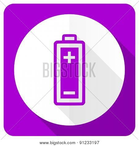 battery pink flat icon power sign