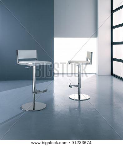 Modern metal stool,