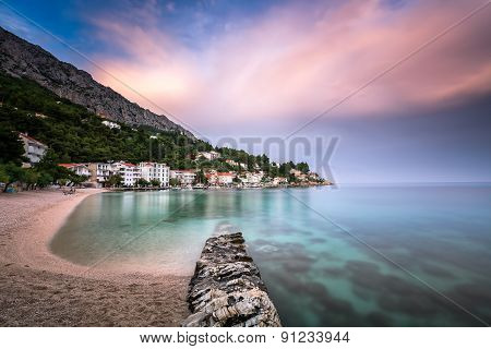 Beautiful Adriatic Beach And Mimice Village On Omis Riviera In Dalmatia, Croatia