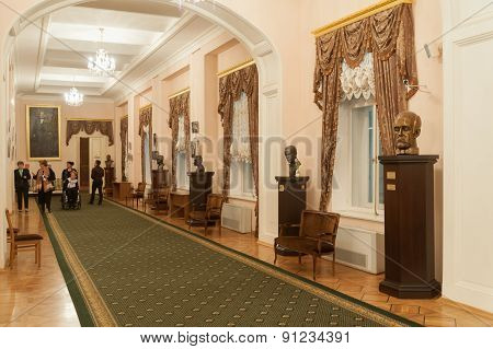 Lobby With Sculptures And Paintings At Moscow Conservatory