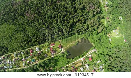 Forest around cottage settlement near pond at summer sunny day. Aerial view