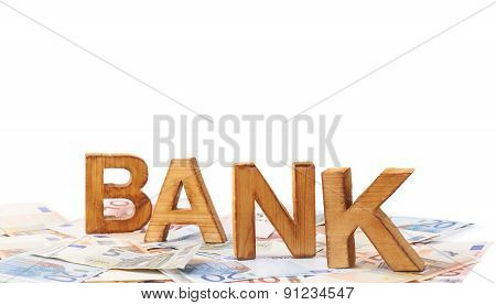Word Bank over the pile of money