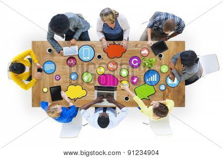 Diversity Casual People Technology Social Network Meeting Concept