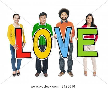 Multiethnic Group of People Holding Letter Love Concept