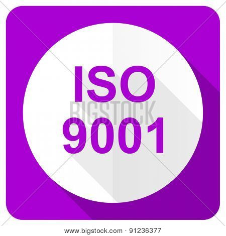 iso 9001 pink flat icon