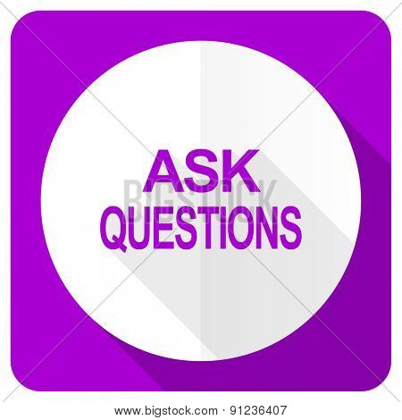 ask questions pink flat icon