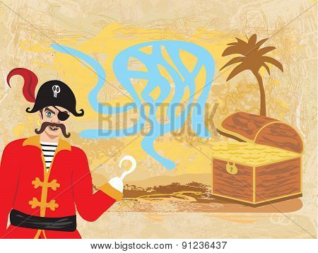 Vector Maze Game: Pirate Looking For Gold