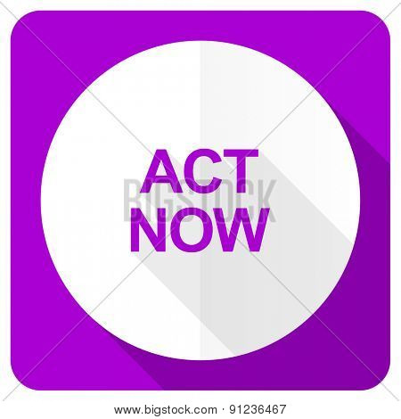 act now pink flat icon