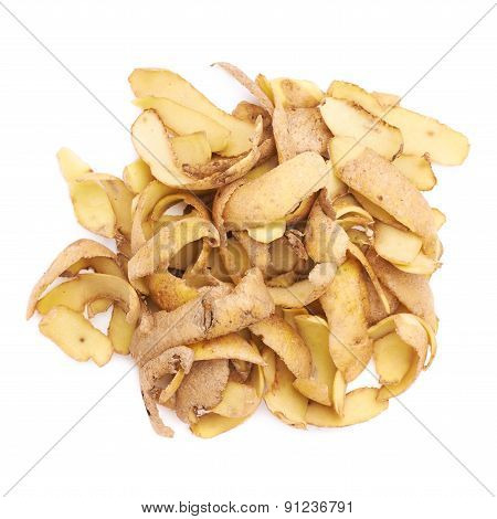 Pile of potato peels isolated