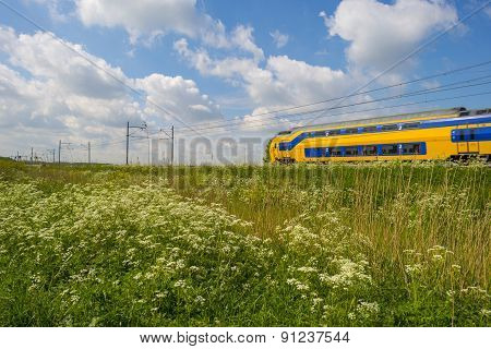 Train riding through a sunny landscape in spring