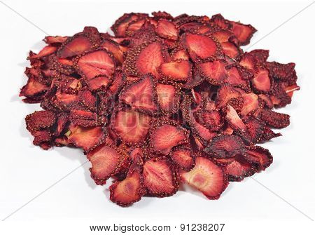 Heap Of Dried  Strawberries On A White