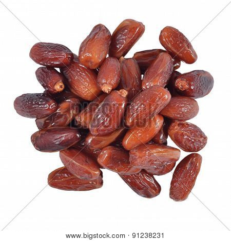 Heap Of Dried Dates On A White Background