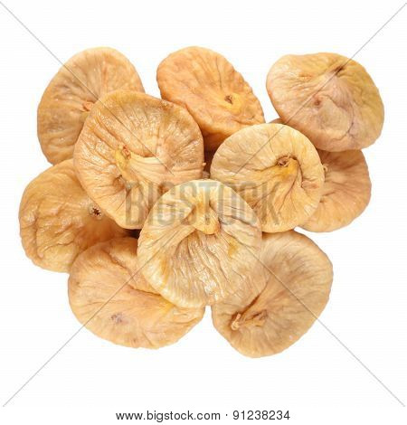 Heap Of Dried Figs On A White