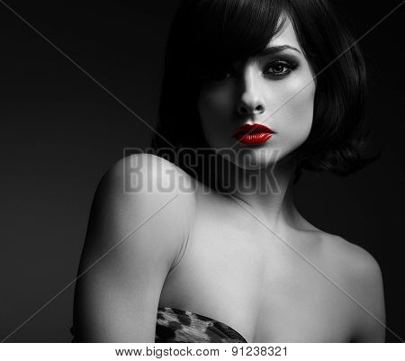 Sexy Short Hair Woman With Red Lips In Darkness. Black And White Portrait