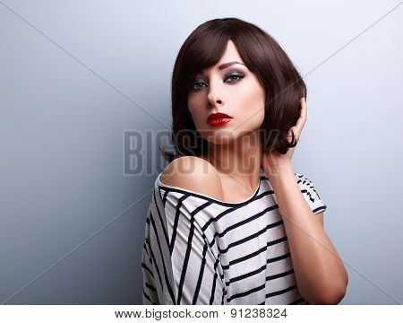Sexy Fashion Model With Short Hair Style Posing