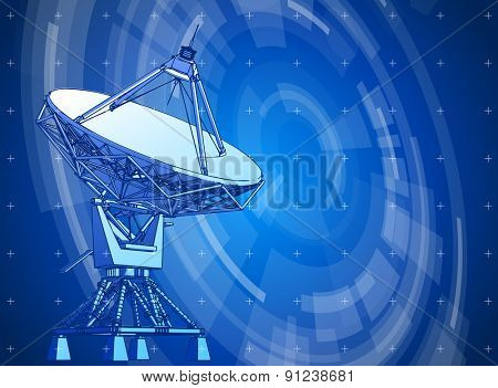 satellite dishes antenna. Doppler radar and blue radial technology background. Vector illustration. eps10