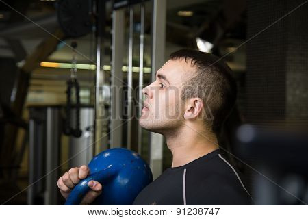 Kettlebell Swing Workout Training Man At Gym