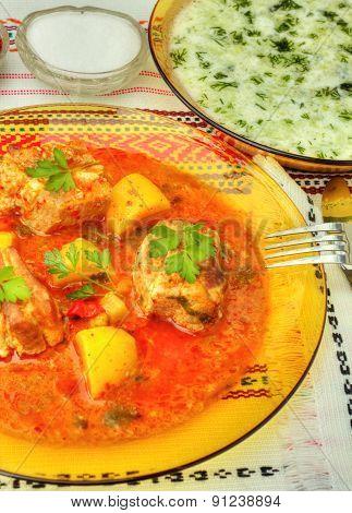 Delicious food in restaurant