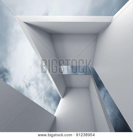 3D White Futuristic Interior And Blue Cloudy Sky