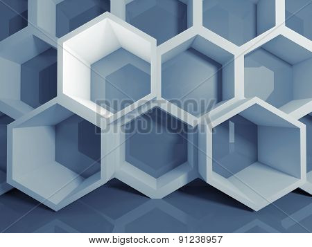 Abstract Blue 3 D Honeycomb Digital Structure