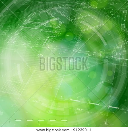 Architecture design. blueprint house plan & blue technology radial background. vector illustration