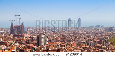 Panoramic Cityscape Of Barcelona, Spain