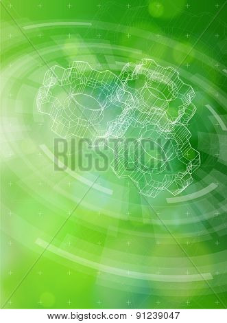 Ecology technology concept. gears, radial HUD elements and green bokeh abstract light background. vector illustration. eps10