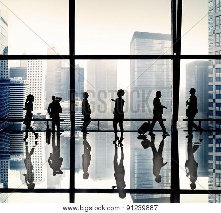 Businesswoman Waiting City Office Concept