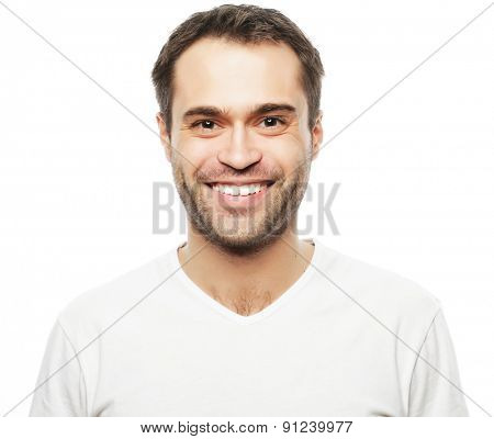 handsome man in blank white shirt, happy face