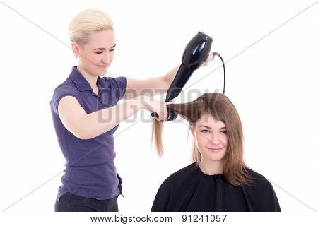 Happy Woman Hair Stylist Doing Haircut To Client Isolated On White