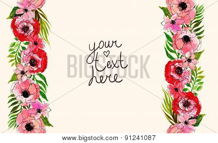 floral border with pink flowers