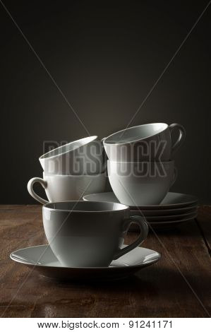 Five Plain White Ceramic Coffee Or Tea Cups