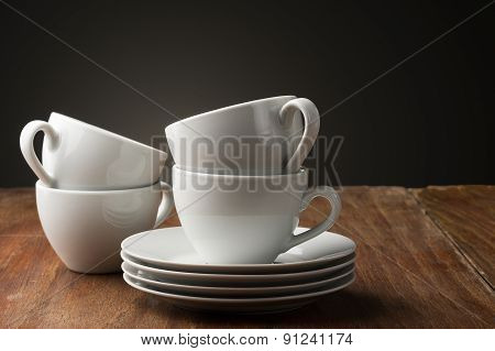 Four Plain White Ceramic Coffee Cups