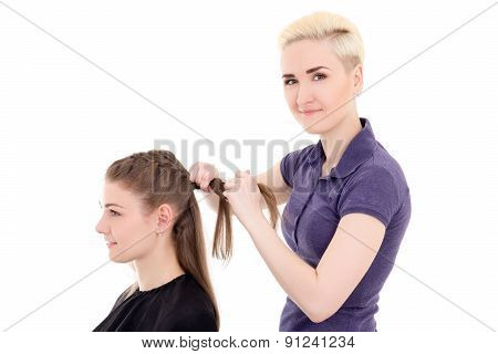 Female Hair Stylist And Client Isolated On White