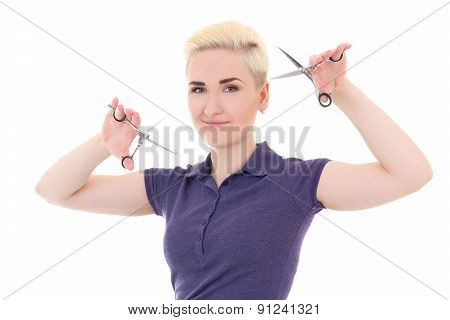 Blonde Woman Hair Stylist Posing With Scissors Isolated On White