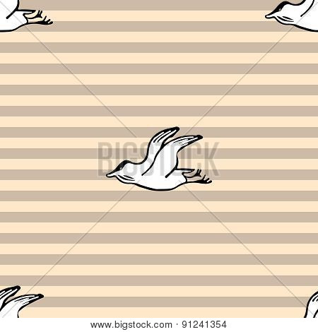 Sea Gull Seamless Strip Pattern Background