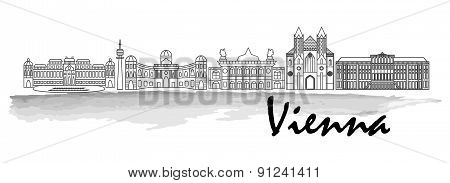 Vienna Black Silhouette City Skyline Vector Icon