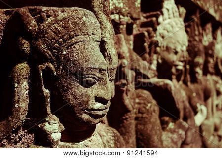 Bas-reliefs Sculpture At Angkor Thom ,unesco World Heritage,  Siem Reap, Cambodia
