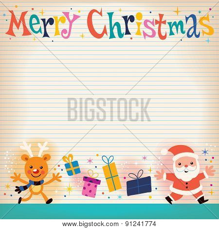Merry Christmas lined note book paper retro greeting card
