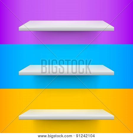 Three White Realistic Shelves On Voilet, Blue And Yellow Background